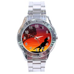 Sunset Dinosaur Scene Stainless Steel Analogue Watch by IIPhotographyAndDesigns