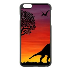 Sunset Dinosaur Scene Apple Iphone 6 Plus/6s Plus Black Enamel Case by IIPhotographyAndDesigns