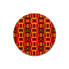 Red Black Yellow 7 Rubber Round Coaster (4 Pack)