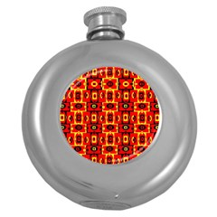 Red Black Yellow 7 Round Hip Flask (5 Oz) by ArtworkByPatrick1