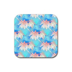 Palm Trees Summer Afternoon Rubber Coaster (square)  by CrypticFragmentsColors