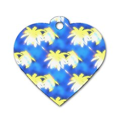 Palm Trees Bright Blue Green Dog Tag Heart (one Side) by CrypticFragmentsColors