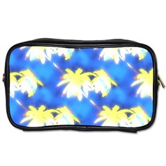 Palm Trees Bright Blue Green Toiletries Bags 2 Side by CrypticFragmentsColors