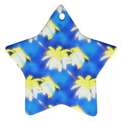 Palm Trees Bright Blue Green Ornament (star)
