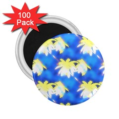 Palm Trees Bright Blue Green 2 25  Magnets (100 Pack)  by CrypticFragmentsColors