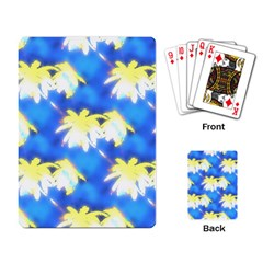 Palm Trees Bright Blue Green Playing Card by CrypticFragmentsColors
