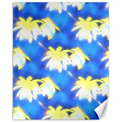 Palm Trees Bright Blue Green Canvas 16  X 20   by CrypticFragmentsColors
