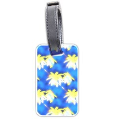 Palm Trees Bright Blue Green Luggage Tags (one Side)  by CrypticFragmentsColors