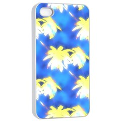 Palm Trees Bright Blue Green Apple Iphone 4/4s Seamless Case (white) by CrypticFragmentsColors