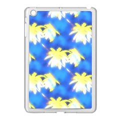 Palm Trees Bright Blue Green Apple Ipad Mini Case (white) by CrypticFragmentsColors