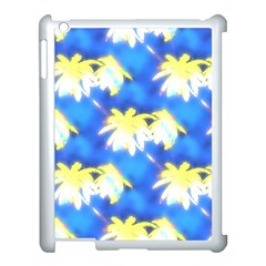 Palm Trees Bright Blue Green Apple Ipad 3/4 Case (white) by CrypticFragmentsColors