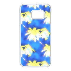 Palm Trees Bright Blue Green Samsung Galaxy S7 White Seamless Case