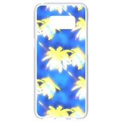 Palm Trees Bright Blue Green Samsung Galaxy S8 White Seamless Case by CrypticFragmentsColors