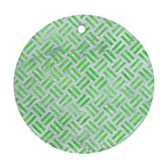 Woven2 White Marble & Green Watercolor (r) Round Ornament (two Sides) by trendistuff