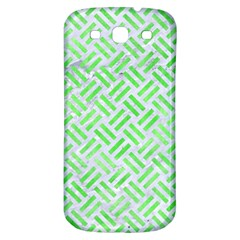 Woven2 White Marble & Green Watercolor (r) Samsung Galaxy S3 S Iii Classic Hardshell Back Case by trendistuff