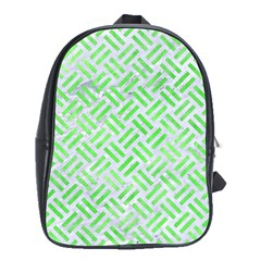 Woven2 White Marble & Green Watercolor (r) School Bag (xl) by trendistuff
