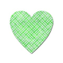 Woven2 White Marble & Green Watercolor Heart Magnet
