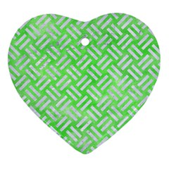 Woven2 White Marble & Green Watercolor Heart Ornament (two Sides) by trendistuff