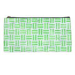Woven1 White Marble & Green Watercolor (r) Pencil Cases by trendistuff