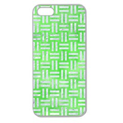 Woven1 White Marble & Green Watercolor Apple Seamless Iphone 5 Case (clear) by trendistuff