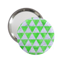 Triangle3 White Marble & Green Watercolor 2 25  Handbag Mirrors by trendistuff