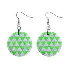 Triangle3 White Marble & Green Watercolor Mini Button Earrings by trendistuff