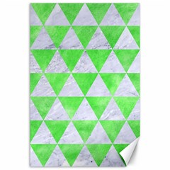 Triangle3 White Marble & Green Watercolor Canvas 24  X 36  by trendistuff