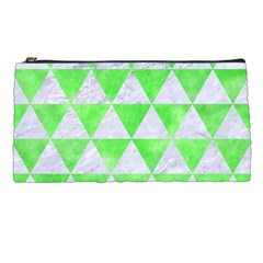 Triangle3 White Marble & Green Watercolor Pencil Cases by trendistuff