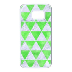 Triangle3 White Marble & Green Watercolor Samsung Galaxy S7 White Seamless Case