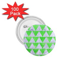 Triangle2 White Marble & Green Watercolor 1 75  Buttons (100 Pack)  by trendistuff