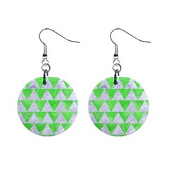 Triangle2 White Marble & Green Watercolor Mini Button Earrings by trendistuff