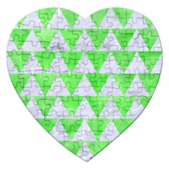 Triangle2 White Marble & Green Watercolor Jigsaw Puzzle (heart) by trendistuff