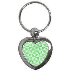 Triangle1 White Marble & Green Watercolor Key Chains (heart)  by trendistuff