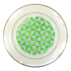 Triangle1 White Marble & Green Watercolor Porcelain Plates by trendistuff
