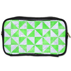 Triangle1 White Marble & Green Watercolor Toiletries Bags 2 Side by trendistuff