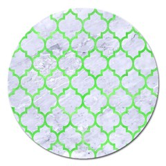 Tile1 (r) White Marble & Green Watercolor Magnet 5  (round) by trendistuff