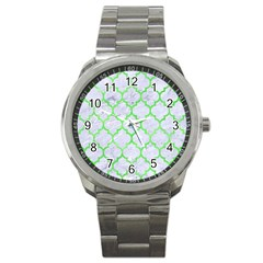 Tile1 (r) White Marble & Green Watercolor Sport Metal Watch by trendistuff