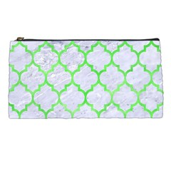 Tile1 (r) White Marble & Green Watercolor Pencil Cases by trendistuff