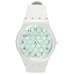 Tile1 (r) White Marble & Green Watercolor Round Plastic Sport Watch (m) by trendistuff