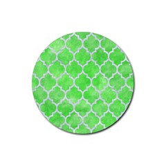 Tile1 White Marble & Green Watercolor Rubber Coaster (round)  by trendistuff