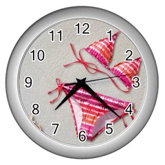 Urban T Shirts, Tropical Swim Suits, Running Shoes, Phone Cases Wall Clock (silver) by gol1ath