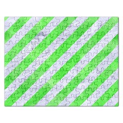 Stripes3 White Marble & Green Watercolor (r) Rectangular Jigsaw Puzzl
