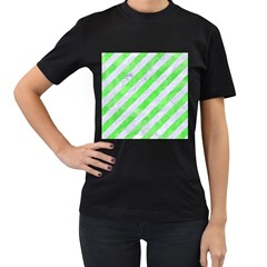 Stripes3 White Marble & Green Watercolor (r) Women s T Shirt (black) (two Sided)