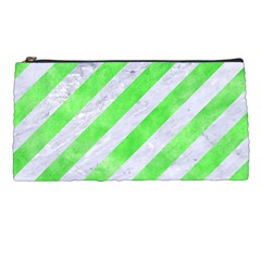 Stripes3 White Marble & Green Watercolor (r) Pencil Cases