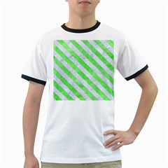 Stripes3 White Marble & Green Watercolor Ringer T Shirts