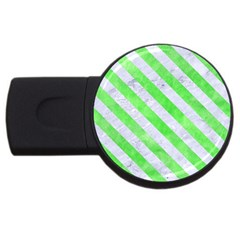 Stripes3 White Marble & Green Watercolor Usb Flash Drive Round (4 Gb) by trendistuff