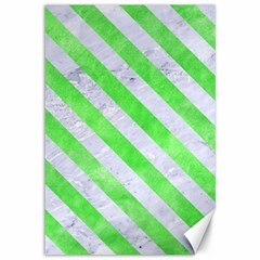 Stripes3 White Marble & Green Watercolor Canvas 12  X 18   by trendistuff