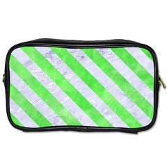 Stripes3 White Marble & Green Watercolor Toiletries Bags by trendistuff