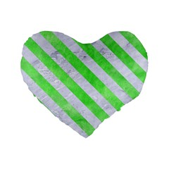 Stripes3 White Marble & Green Watercolor Standard 16  Premium Heart Shape Cushions by trendistuff