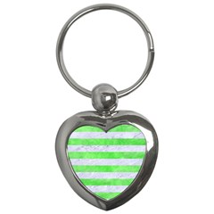 Stripes2 White Marble & Green Watercolor Key Chains (heart)